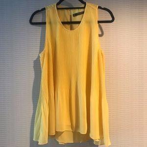Zara Basic Collection Yellow Pleated Chiffon Tank